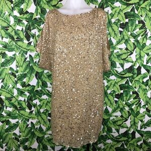 Cache Gold Sequined Open Shoulder Party Dress